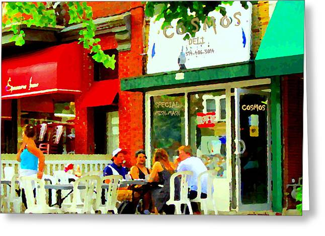 Montreal Diners Greeting Cards - Cosmos All Day Breakfast Diner Chef Tony  Man Of Grease Montreal Memories Art Carole Spandau Greeting Card by Carole Spandau