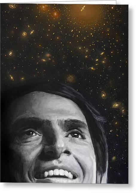 Science Greeting Cards - Cosmos- Carl Sagan Greeting Card by Simon Kregar