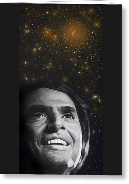 Cosmos Paintings Greeting Cards - Cosmos- Carl Sagan Greeting Card by Simon Kregar