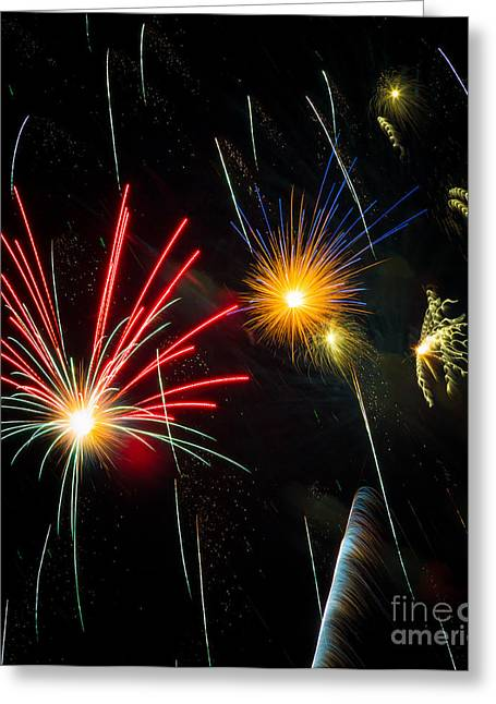 4th July Photographs Greeting Cards - Cosmos Fireworks Greeting Card by Inge Johnsson