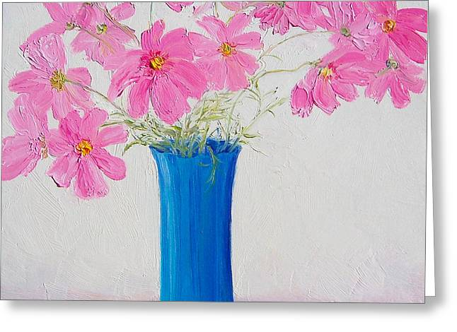Vase Of Flowers Greeting Cards - Cosmos flowers Greeting Card by Jan Matson