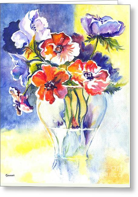 Glass Vase Drawings Greeting Cards - Cosmos I Greeting Card by Carol Wisniewski