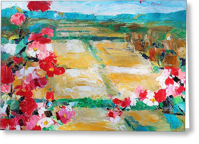 Pallet Knife Greeting Cards - Cosmos In The Field 2 Greeting Card by Becky Kim