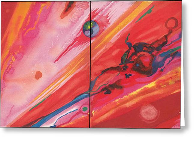 Red Abstracts Greeting Cards - Cosmos Oil On Canvas Greeting Card by Izabella Godlewska de Aranda