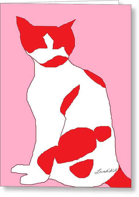 Harmonious Drawings Greeting Cards - Cosmos Red Greeting Card by Anita Dale Livaditis
