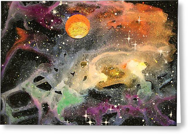 Recently Sold -  - Star Glass Art Greeting Cards - Cosmos Greeting Card by Wolfgang Finger