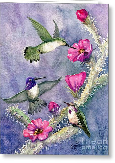 Costa Hummingbird Family Greeting Card by Marilyn Smith