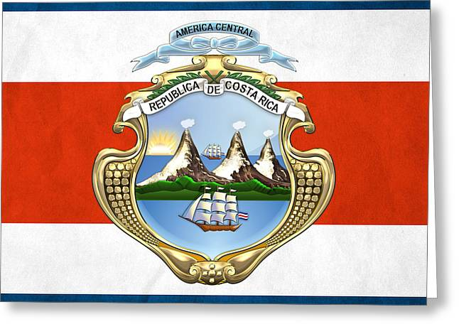 Coa Greeting Cards - Costa Rica Coat of Arms and Flag  Greeting Card by Serge Averbukh