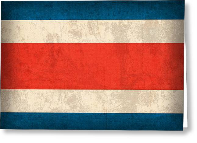 Costa Rica Greeting Cards - Costa Rica Flag Vintage Distressed Finish Greeting Card by Design Turnpike