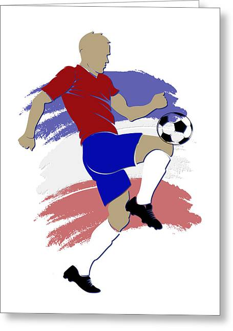 Costa Rica Greeting Cards - Costa Rica Soccer Player Greeting Card by Joe Hamilton