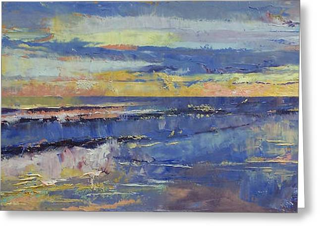 Oleo Greeting Cards - Costa Rica Sunset Greeting Card by Michael Creese