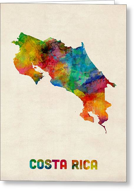 Central Greeting Cards - Costa Rica Watercolor Map Greeting Card by Michael Tompsett