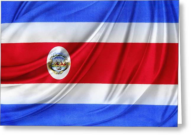 Waving Flag Greeting Cards - Costa Rican flag Greeting Card by Les Cunliffe