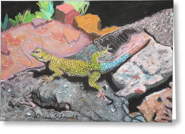 Costa Pastels Greeting Cards - Costa Rican Lizard Greeting Card by Dana Schmidt