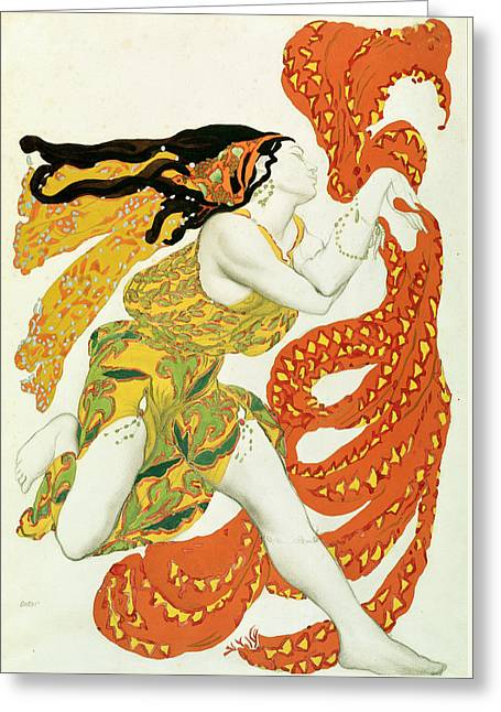 Costume Design For A Bacchante In Narcisse By Tcherepnin Greeting Card by Leon Bakst