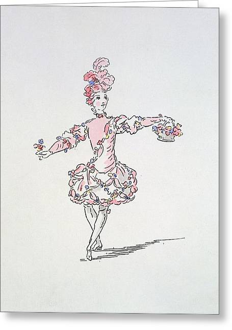 Ballet Dancers Drawings Greeting Cards - Costume Design For A Young Egyptian Greeting Card by French School