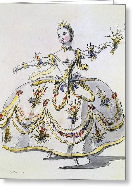 Outfit Drawings Greeting Cards - Costume Design For Ceres, Facsimile Greeting Card by French School