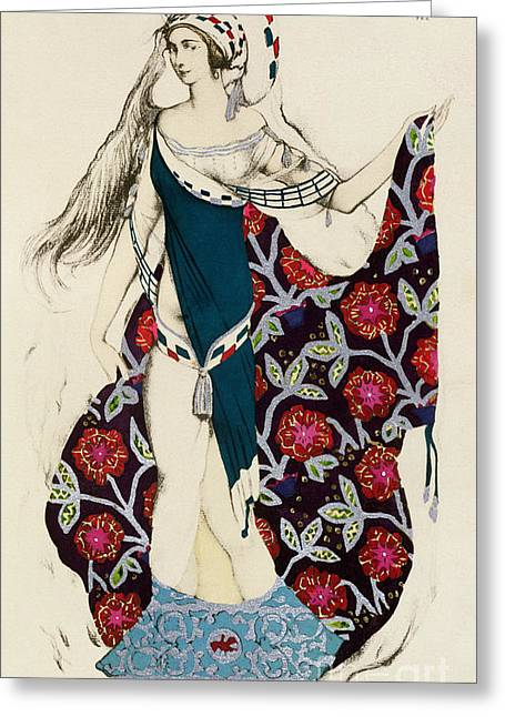 Stylized Paintings Greeting Cards - Costume design Greeting Card by Leon Bakst