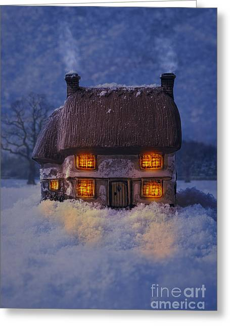 Snowy Evening Greeting Cards - Cosy Country Cottage Greeting Card by Amanda And Christopher Elwell
