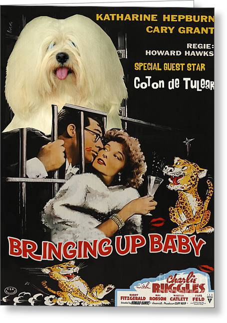 Bringing Greeting Cards - Coton de Tulear Art Canvas Print - Bringing Up Baby Movie Poster Greeting Card by Sandra Sij