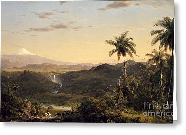 Sunset Greeting Cards Greeting Cards - Cotopaxi Greeting Card by Frederic Edwin Church