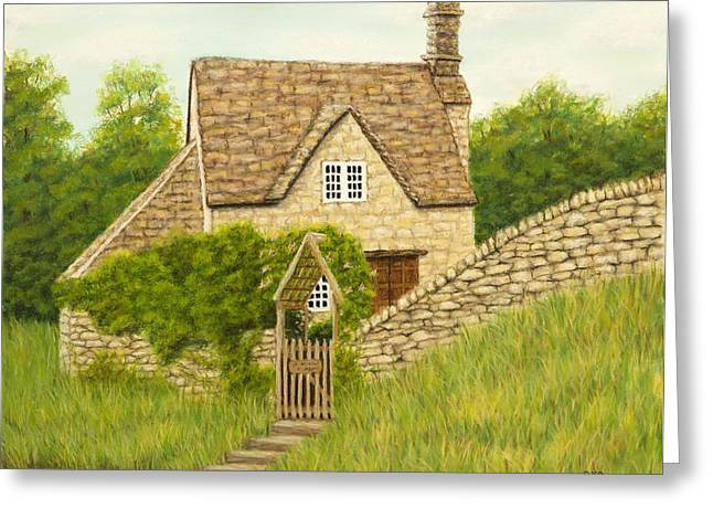 Gate Pastels Greeting Cards - Cotswold cottage Greeting Card by Rebecca Prough