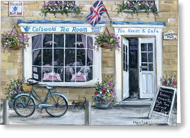 Basket Pot Greeting Cards - Cotswold Tea Room Greeting Card by Marilyn Dunlap