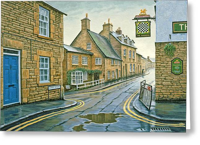 Raining Greeting Cards - Cotswold Village-Rainy Day Greeting Card by Paul Krapf