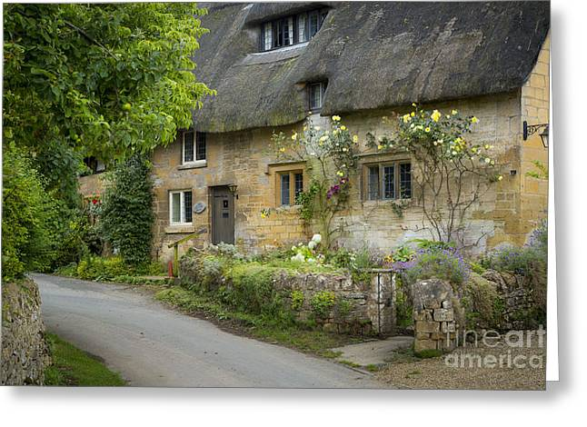 Old Country Roads Greeting Cards - Cotswolds Cottage - Stanton Greeting Card by Brian Jannsen