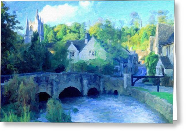 Waterscape Mixed Media Greeting Cards - Cotswolds Of England Greeting Card by Georgiana Romanovna