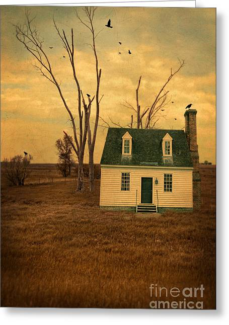 Clapboard House Greeting Cards - Cottage and Dead Trees Greeting Card by Jill Battaglia