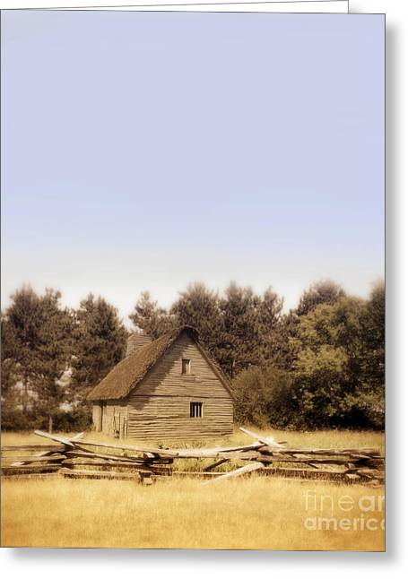 Rood Greeting Cards - Cottage and Splitrail Fence Greeting Card by Jill Battaglia