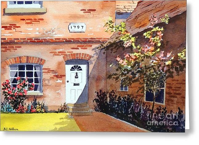 Light And Dark Paintings Greeting Cards - Cottage At Beaconsfield Village Greeting Card by Bill Holkham