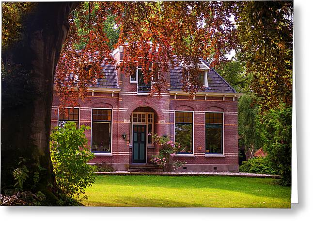 The North Greeting Cards - Cottage at the Church. Giethoorn. Venice of the North Greeting Card by Jenny Rainbow