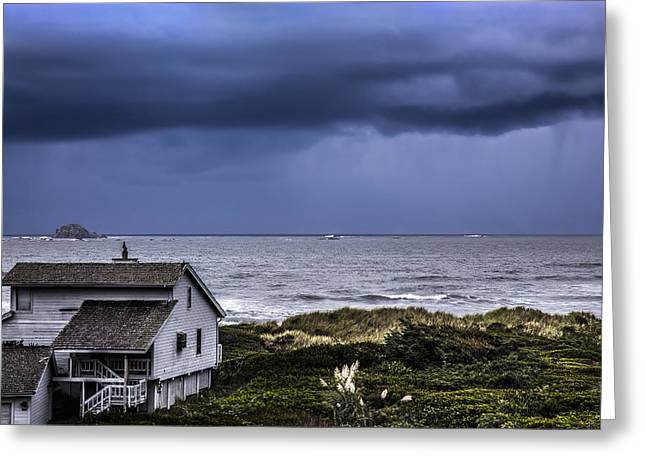 Foggy Beach Greeting Cards - Cottage at the Sea Greeting Card by Debra and Dave Vanderlaan