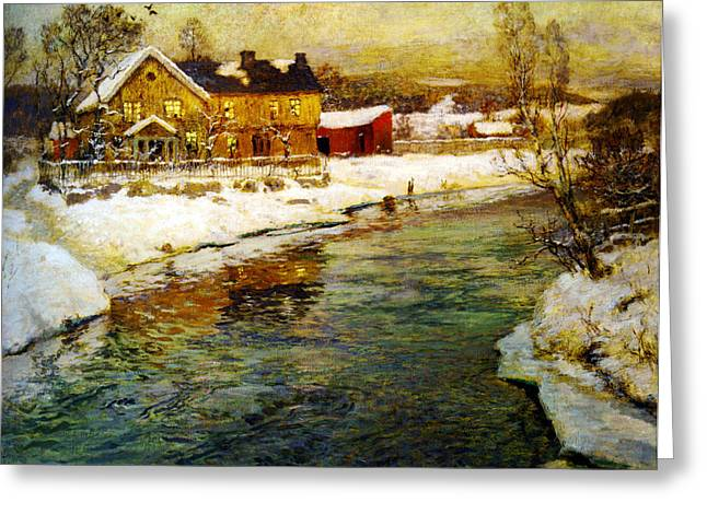 Thaulow Greeting Cards - Cottage by a canal in the snow Greeting Card by Celestial Images