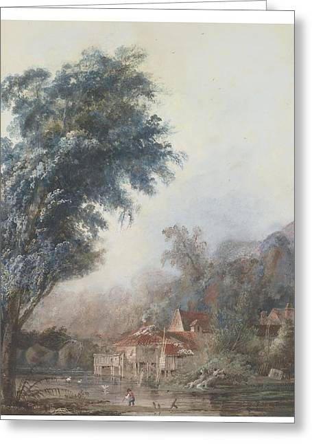 A. Paré Greeting Cards - Cottage By A Stream With A Young Boy Fishing Greeting Card by Celestial Images