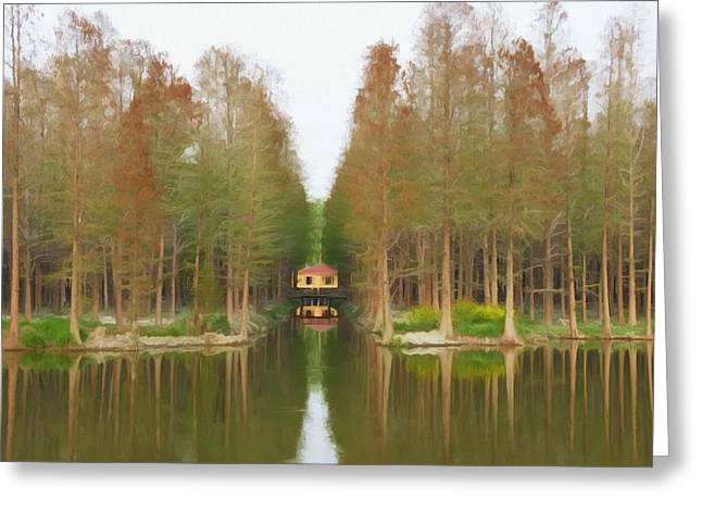 Chinese Minority Greeting Cards - Cottage by the lake Greeting Card by Lanjee Chee