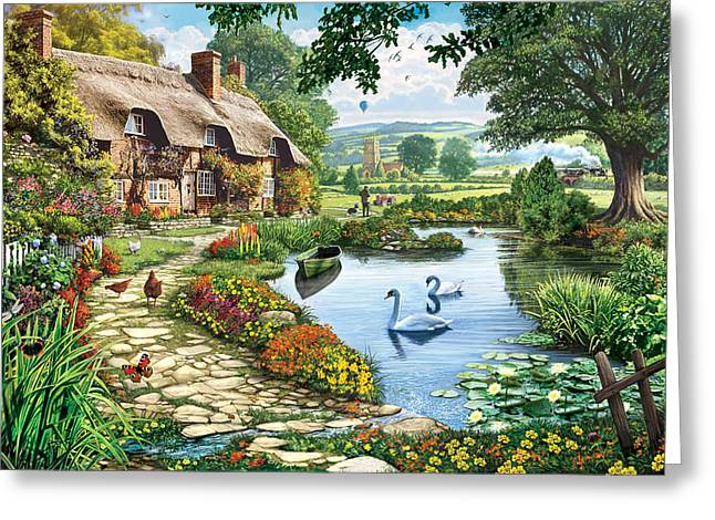 Swans... Greeting Cards - Cottage by the Lake Greeting Card by Steve Crisp