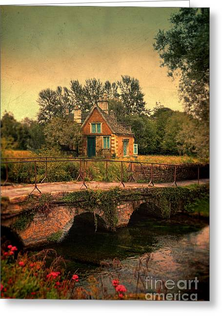 Cottage By The River Greeting Card by Jill Battaglia