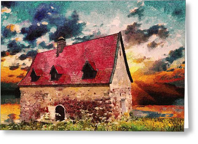 Zeana Romanovna Greeting Cards - Cottage By The Sea - Abstract Realism Greeting Card by Georgiana Romanovna