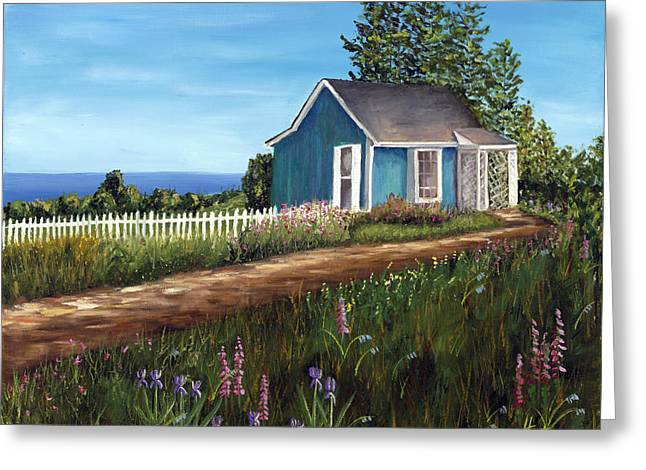 Flowers On A Fence Greeting Cards - Cottage by the Sea Greeting Card by Helen Eaton