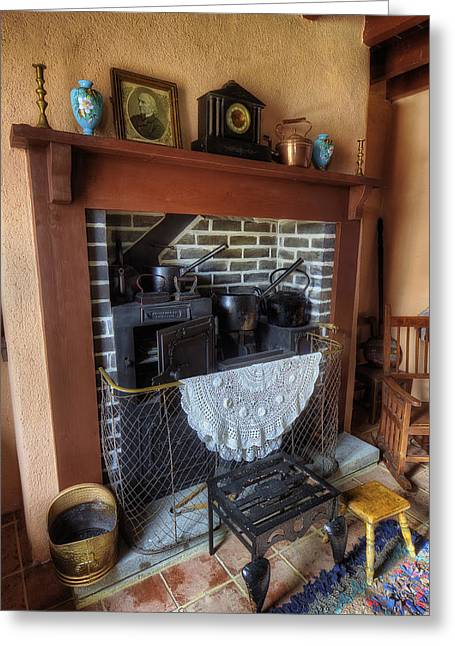Oil Lamp Greeting Cards - Cottage Fire Place Greeting Card by Ian Mitchell