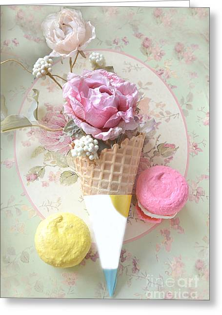 Pink Food Photography Greeting Cards - Shabby Chic Floral Pink and Yellow Macarons and Waffle Cone Floral and Food Photography Greeting Card by Kathy Fornal