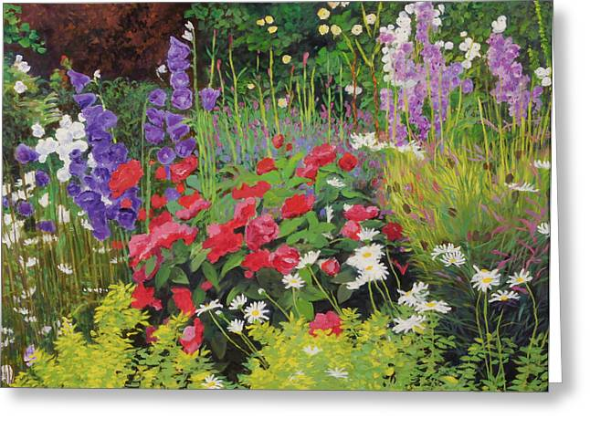 Overgrown Greeting Cards - Cottage Garden, 20078 Oil On Board Greeting Card by William Ireland