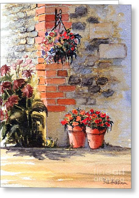 Hanging Baskets Greeting Cards - Cottage Garden  Greeting Card by Bill Holkham