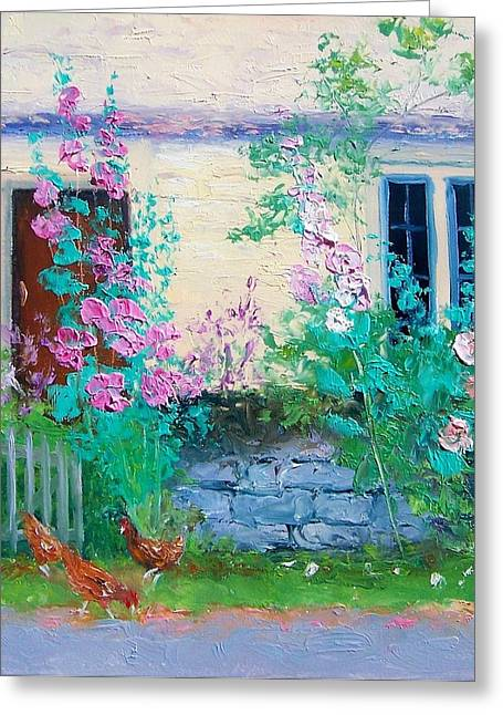 Country Cottage Greeting Cards - Cottage Garden by Jan Matson Greeting Card by Jan Matson