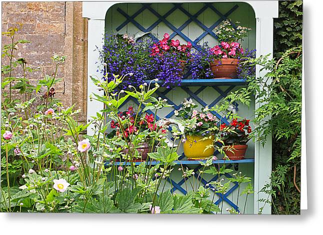 Garden Scene Greeting Cards - Cottage Garden Flower Pots Greeting Card by Gill Billington