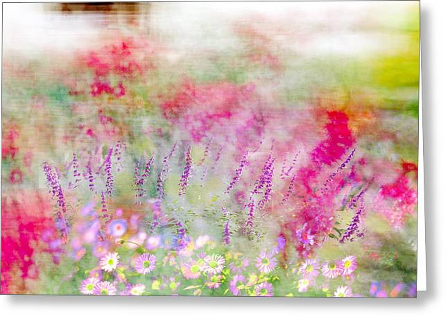 Pink And Purple Flowers Greeting Cards - Cottage Garden Impressionism Greeting Card by Linde Townsend