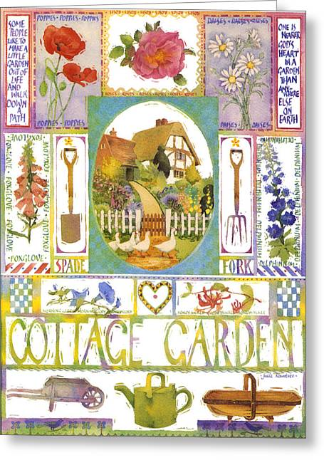 Julia Rowntree Greeting Cards - Cottage Garden Greeting Card by Julia Rowntree